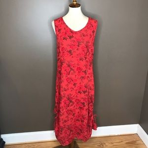 Vintage Flax 90's Red Sleeveless Floral Midi Dress